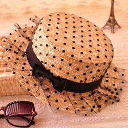 Fashion Bowknot Decorated Polka Dot Sun Hat For Women