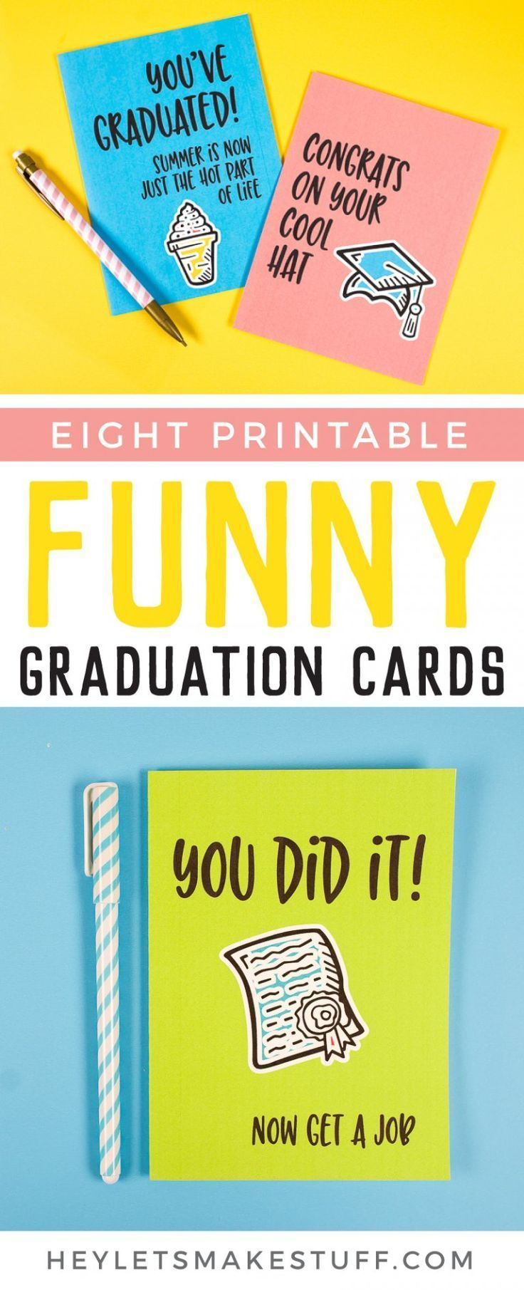 picture regarding Printable Graduation Cards referred to as Printable Humorous Commencement Playing cards FREEBIES-Printables and