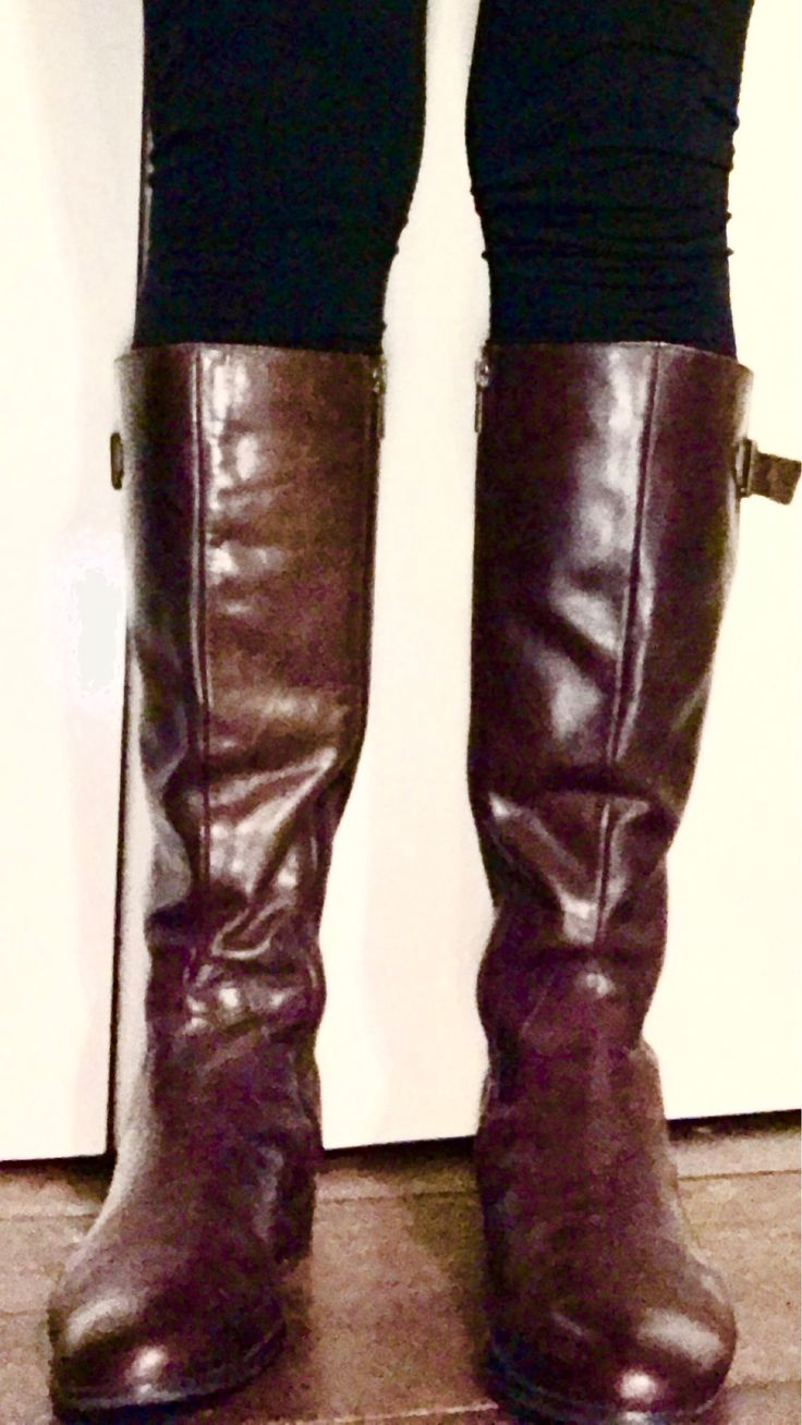 Near new leather boots for $10. Soft, chocolate leather. Polished and ready for winter. Op shop gold!