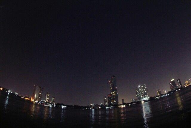 Cityscape of bangkok from chaopraya river