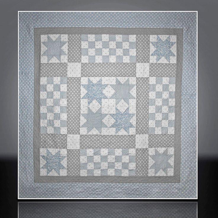Baby boy quilt handmade wall hanging heirloom in blue gray stars x56 mary brader 440