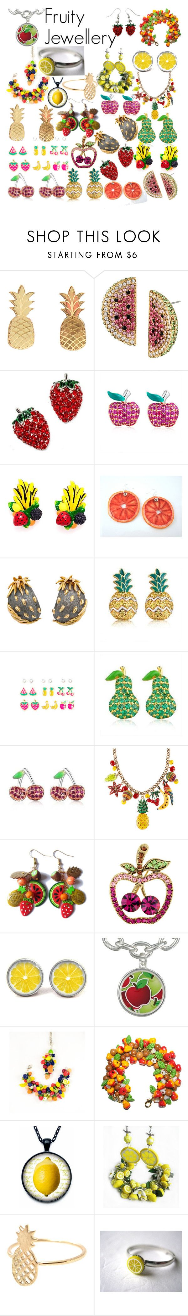 """""""Fruity Jewellery..."""" by imogencara ❤ liked on Polyvore featuring Vinca, Betsey Johnson, MBLife.com and Marilyn F. Cooperman"""
