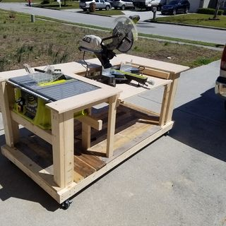 Mobile Workbench With Built-in Table & Miter Saws ...