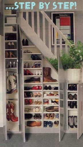 If we have stairs. ... this is genius. Add hooks for coats and backpacks and hats and we are good