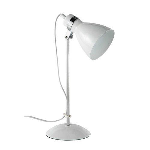 Lampada da tavolo in metallo bianco H 38 cm PIX