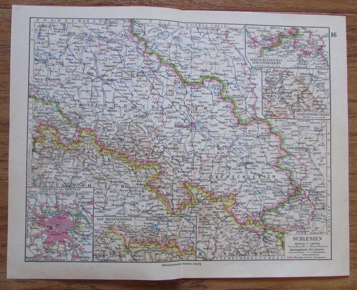 Schlesien Polen - alte Landkarte Karte old map 1928