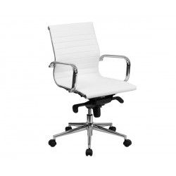 Silla oficina Eames similpiel blanca 117-A Aluminium