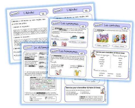 Leçons de vocabulaire - trace écrite