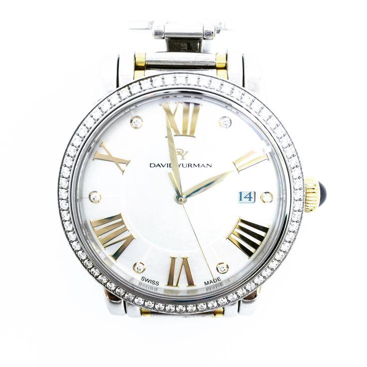 david yurman swiss unisex t716m stainless steel u0026 18k yellow gold diamond bezel quartz wrist watch 38mm case white diamond dial with
