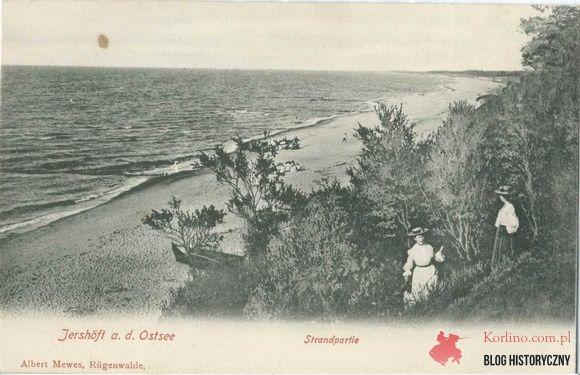 Jarosławiec kartka pocztowa bez obiegu, zejście na plażę biegnące z restauracji Wee Wunder's