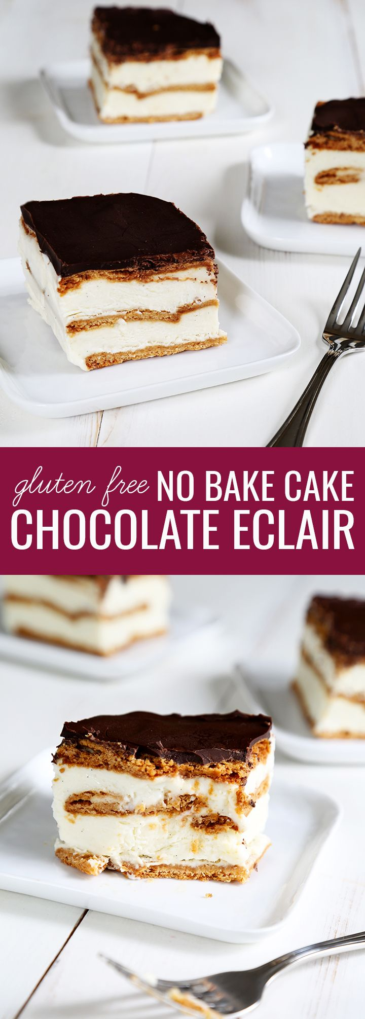 Get this tested, easy-to-follow recipe for no bake gluten free chocolate eclair cake. Perfect for summer gatherings!