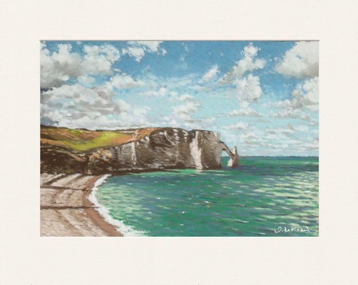 Falaise à Etretat, pastel sec sur pastelcard : Peintures par les-pastels-secs-de-valerie