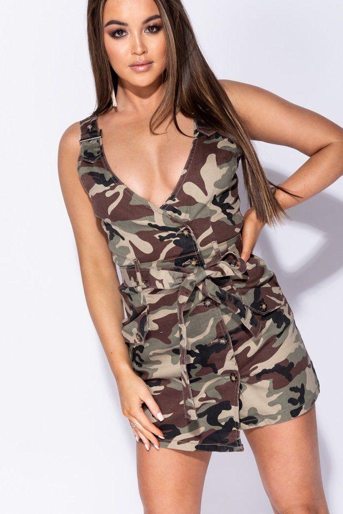 7a66869e6a29 Camouflage Button Waist Tie Asymmetric Mini Dress