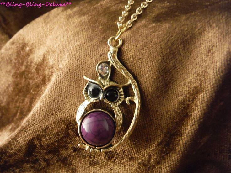 Eule Halskette 24 Karat Vergoldet Uhu Nachtvogel Rhinestone Necklace Wald