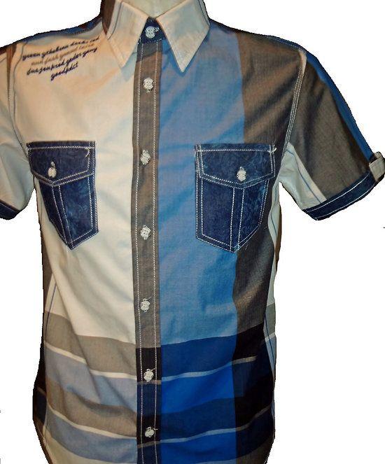 chemisette homme à carreaux bleus 2 poches