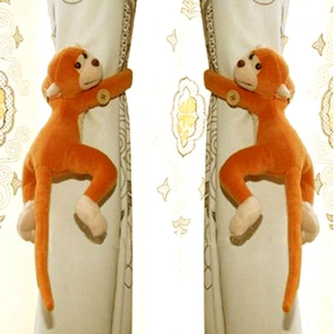2-Pcs-Creative-Monkey-Shaped-Cotton-Decorations-Curtain-Buckle-Yellow