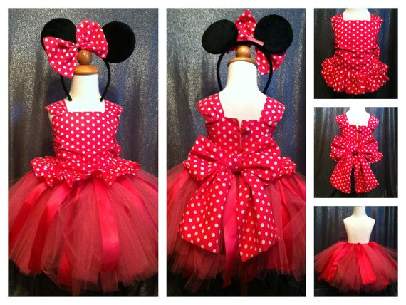 Minnie Gathered Top with Tutu and Minnie Mouse by TwirlyThreads, $65.00