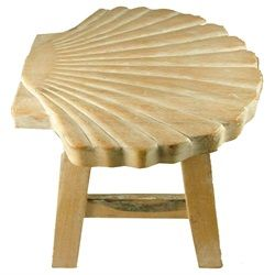 Tropical Scallop Seashell Child Carved Whitewashed Wood Bath Kitchen Step Stool
