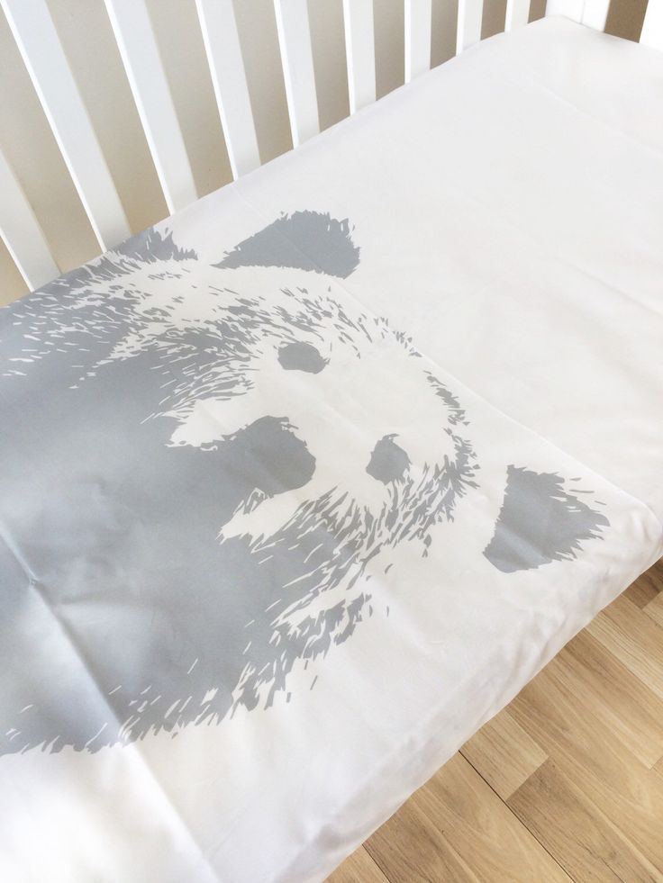 Grizzly Bear smoke - Fitted Cot Sheet, Crib Sheet, Nursery Fitted sheet, modern baby linen by ElskeLittleStyle on Etsy https://www.etsy.com/listing/248274204/grizzly-bear-smoke-fitted-cot-sheet-crib