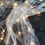 LED Curtain Lights, White Fabric, 3 feet by 12 feet, Plug-in, Warm White