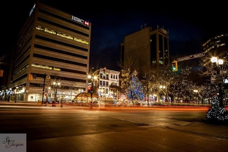 Hughson street and King street in Hamilton, Ontario 2012 Christmas eve. Long exposure. Heritage.