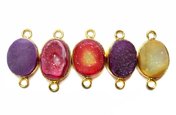 24 kt Gold Plated Druzy Connectors   Mix colour by finegemstone, $35.00