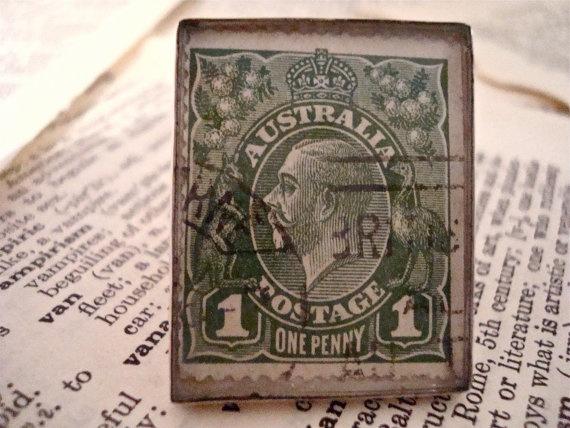 1918 King George V Australia Vintage Stamp is Set by SilverGypsys, $48.00