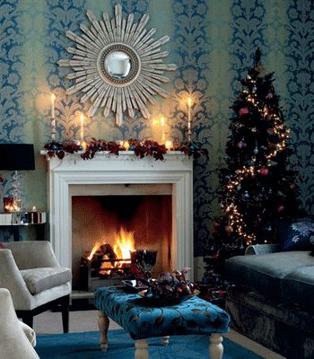 Contemporary LED CHristmas lights decorating design, modern fireplace and living room decorating ideas, blue Christmas theme