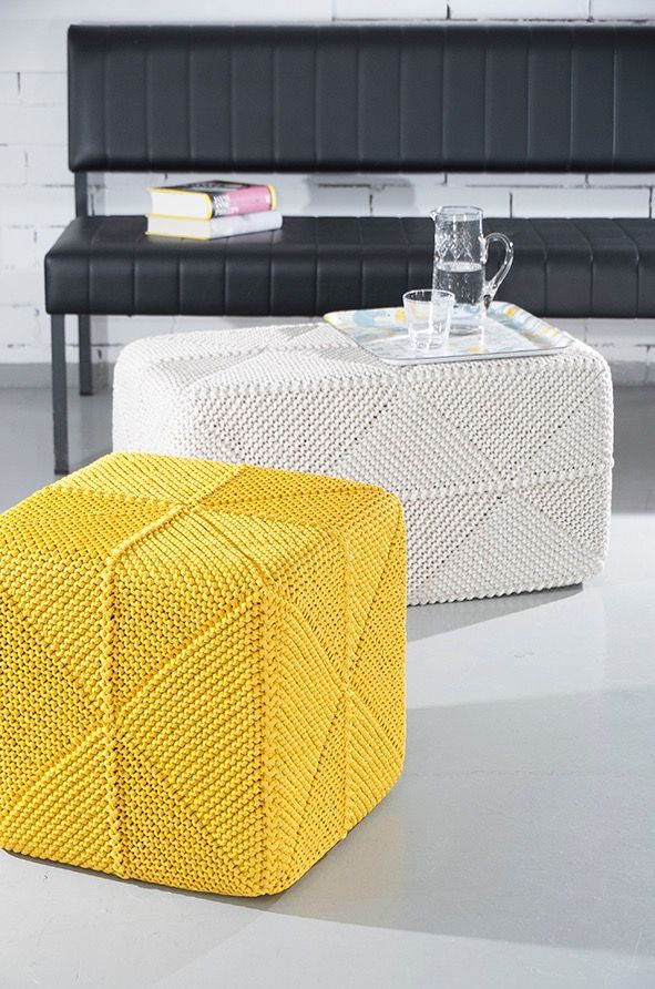 Domino foot stools by Pia Heilä for LANKAVA. Photo: Beada Kinnarinen. Esteri Polyester Cord, Lankava.