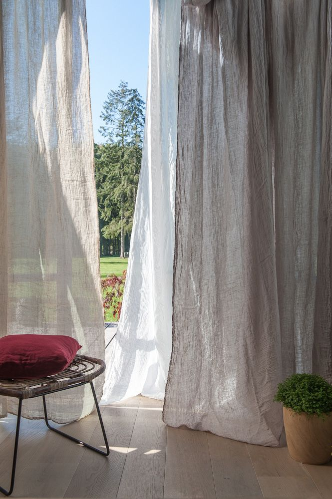 Grey sheet linen curtains for room divider