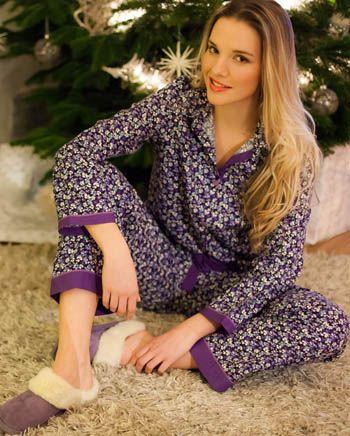 Violet Woven Long Sleeve Brushed Floral Print Pyjamas