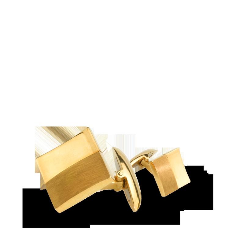 Gemelos cóncavos y convexos realizados en oro amarillo matizado y pulido