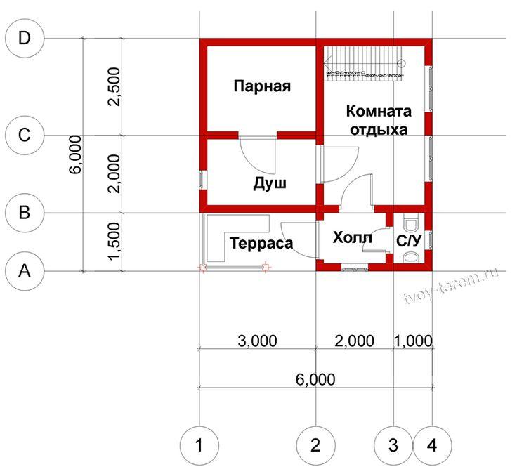 План первого этажа - проект бани и бруса №26