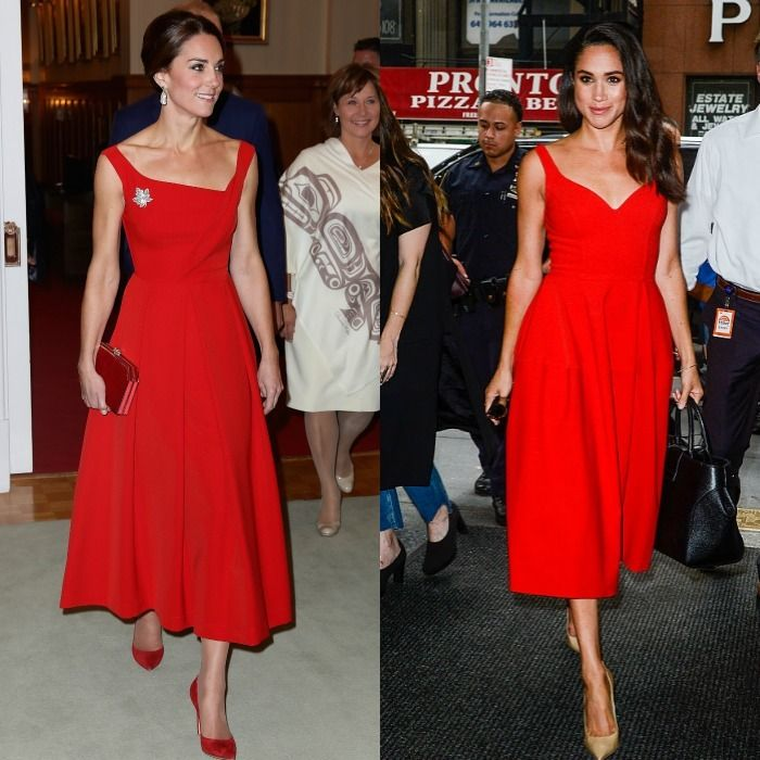 "Ladies in red  The brunette beauties know how to make a statement in bold red dresses. Prince George's mom looked elegant in a Preen dress during her 2016 visit to Canada, while Meghan brought color to the streets of New York in her scarlet frock. The Suits actress previously admitted to HELLO! Canada, ""Fashion can change your mood."""