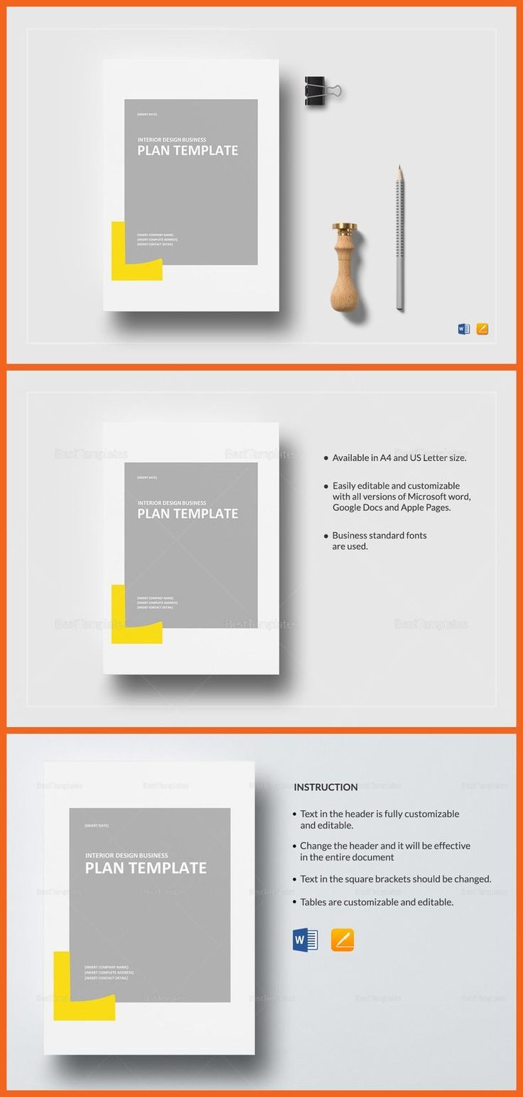 Interior Design Business Plan Template - $25 Formats Included :MS Word, Pages File Size :8.27x11.69 Inchs, 8.5x11 Inchs Pages :12