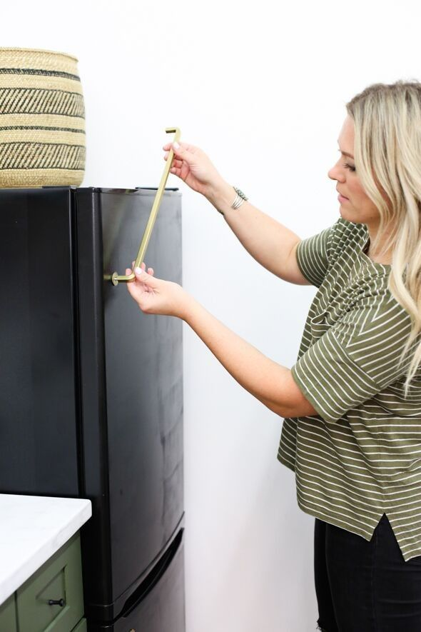Diy Black Fridge With Brass Pulls Black Fridges Fridge Makeover Painted Fridge