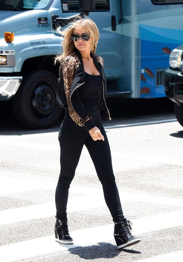 Semi Sheer Leopard Sleeve Bomber Jacket and Jimmy Choo Black Suede Wedge Sneakers