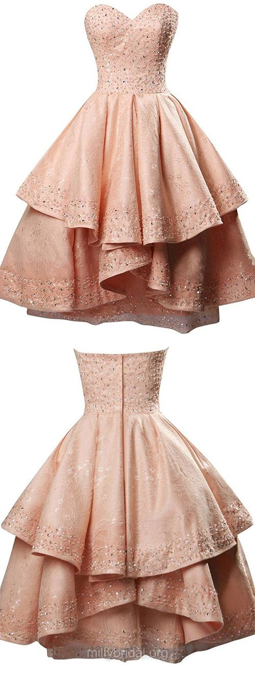 Princess Pink Prom Dresses,Sweetheart Lace Homecoming Dresses,Satin Short/Mini Sequins Formal Evening Gowns, Original Sexy Party Gowns