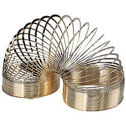 """Invented by accident, this 80 feet of wire, coiled into a 2"""" spiral, is a novelty toy that's been around since 1945. Collectors and serious Slinky lovers will admire this 14-kt. gold-plated version of the classic! Packaged in clear acrylic display box."""