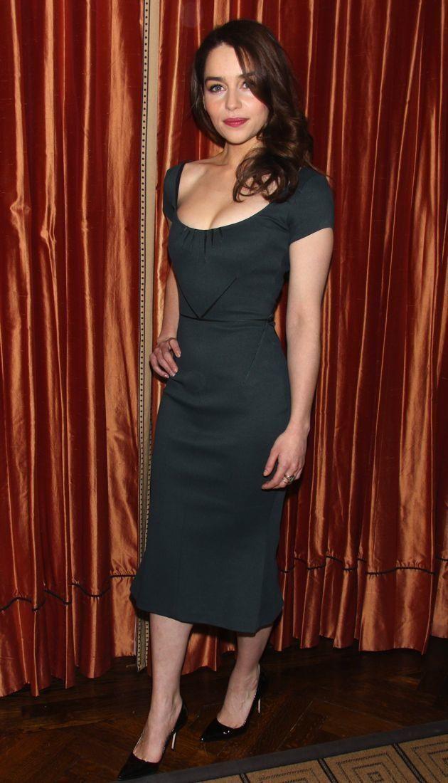 00e29f23761 Look of the Day  Emilia Clarke s Chic Zac Posen Sheath Dress -  theFashionSpot