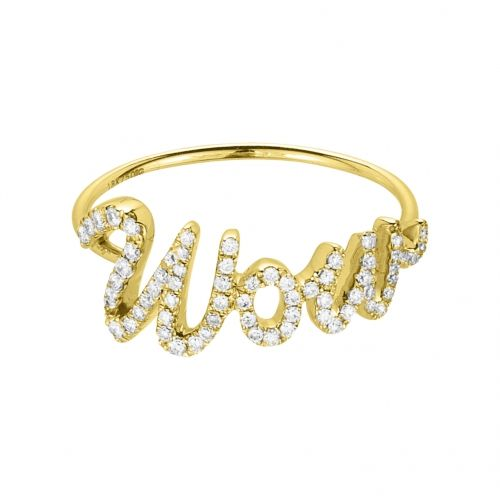 Wow ring in yellow gold 18 k with white diamonds.