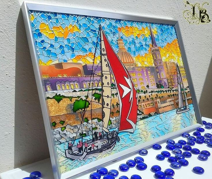 """""""The Sunrise is Over Malta"""". Mixed Media Glass Painting. Size 30x43. Using special transparent, opaque and pearl colors to make light effects. Applying permanent waterproof paint"""