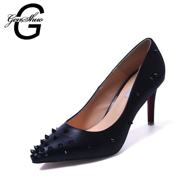 62.51$  Buy now - http://ali88y.worldwells.pw/go.php?t=32507333115 - Hot Style Women Shoes Rivet Sexy Woman Pointed Pumps Fashion Mixed Color Elegant High Heels Shoes Lady Shoes For Nightclub Queen