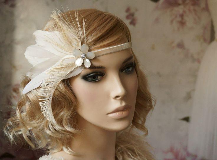 Headpieces & Fascinators - Flapper Haarband 20 er Stirnband beige - ein Designerstück von Elizabethmode bei DaWanda