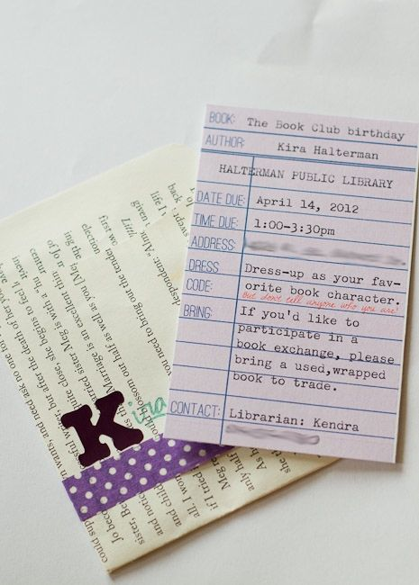 Book Club Birthday Party Invitations