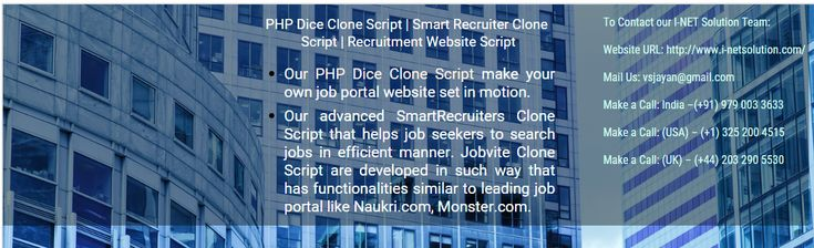 Our PHP Dice Clone Script make your own job portal website set in motion. Our advanced Smart Recruiters Clone Script that helps job seekers to search jobs in efficient manner. Jobvite Clone Script are developed in such way that has functionalities similar to leading job portal like Naukri.com, Monster.com, etc..