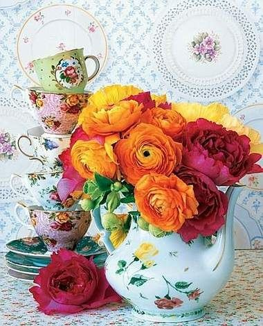 37 best images about tazas teteras y jarras con flores on for Tazas con cafe