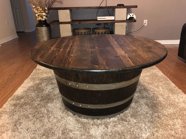 Whiskey Barrel Coffee Table and TV Stand