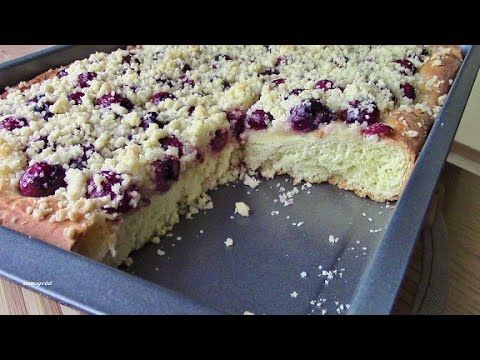 Ciasto drożdżowe pulchne z wiśniami i kruszonką - YouTube