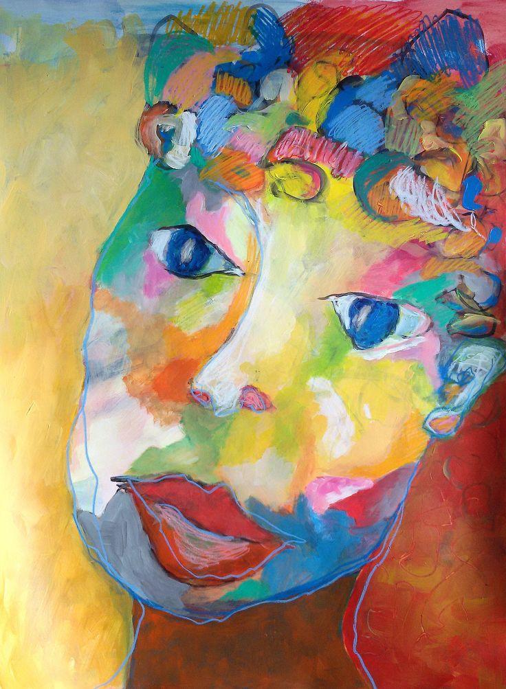 Les bigoudis acrylique craies sur papier Peinture de Aube VRBICA